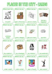 English Worksheet: PLACES IN THE CITY - GAME (3) CARDS