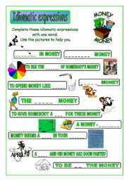 English Worksheet: Idiomatic expressions - MONEY - (part 2 / 2)