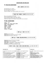 English worksheet: QUESTIONS IN ENGLISH
