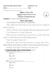 English Worksheets: reading comprehension for grade2