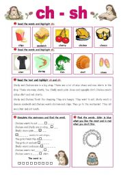 English Worksheets: CH-SH - Exercises