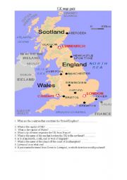 English Worksheet: uk map quiz