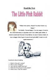 English Worksheets: The little pink rabbit