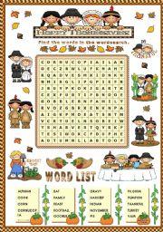 English Worksheet: THANKSGIVING WORDSEARCH