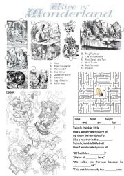 Alice in Wonderland worksheet