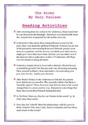English Worksheets: The River by Gary Paulsen