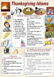 English Worksheet: Thanksgiving Idioms and Proverbs (with KEYS)