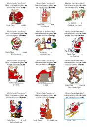 English Worksheet: Santa Claus and present continuous 1/2