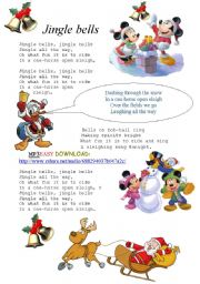 English Worksheet: UPDATED LINK(in description ) http://rapidshare.com/files/437587377/Jingle_Bells_-_Disney_02.wav Jingle Bells lyrics with MP3 song (easy&free download)- just click the link! !DISNEY HEROWS SING THE SONG!