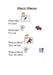 English Worksheets: What is / what are