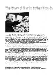 The Story of Martin Luther King Jr. - ESL worksheet by ...