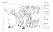 English Worksheet: Match, color and practice jungle animals!
