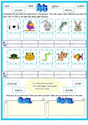 English Worksheet: Pets with I want,,,, I don�t want..., We want..., We don�t want...