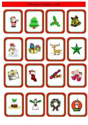 English Worksheet: Christmas memory cards