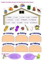English Worksheets: equipment for outdoor activities