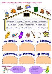 English Worksheet: equipment for outdoor activities