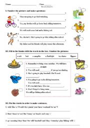English Worksheets: outdoor activities - equipment