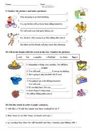 English Worksheet: outdoor activities - equipment