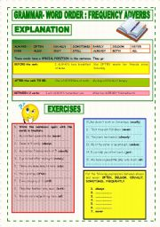 English Worksheet: GRAMMAR: WORD ORDER: FREQUENCY ADVERBS