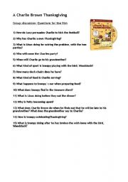 English Worksheet: A Charlie Brown Thanksgiving- questions