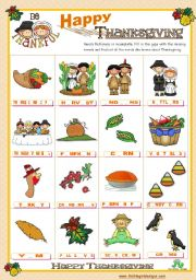 English Worksheet: Thanksgiving  - Completing the Pictionary with the missing vowels