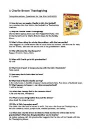 English Worksheets: A Charlie Brown Thanksgiving- answers
