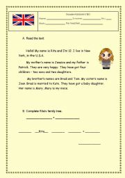 English Worksheets: Family Reading Comprehension