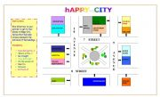 English Worksheet: HAPPY CITY GIVING DIRECTIONS MAP