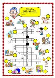 English Worksheet: Breakfast crossword