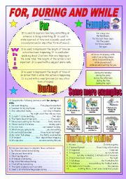 English Worksheets: FOR, DURING AND WHILE