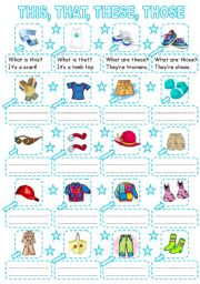 English Worksheets: THIS, THAT, THESE, THOSE (3) clothes