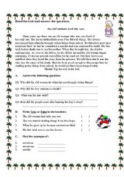 English worksheet: the woman and her son