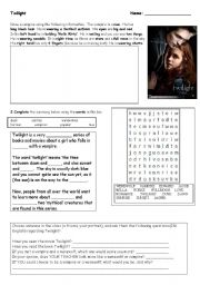English Worksheet: Twilight - Reading, Drawing, Partner Interview...and a Word Search!