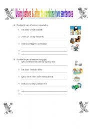 English Worksheet: Using before & after to combine two sentences