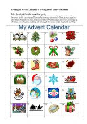 English Worksheet: Creating an Advent Calendar