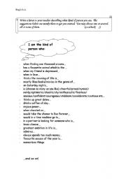 English Worksheets: I am the kind of person who...