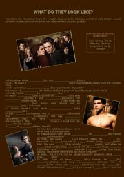 What do they look like dialogue - Twilight Saga - Describe the characters and use Present Simple, Present Simple To BE and Continuous and adjectives to describe people.