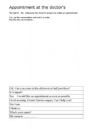 English Worksheet: Appointment at the doctors