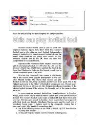 English Worksheet: Sports Assessment Test