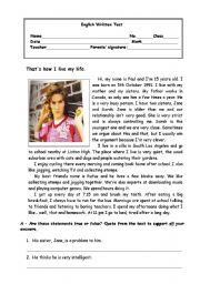 English Worksheet: That´s how I live my life. - 7th form test