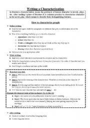 English Worksheets: Writing a Characterization