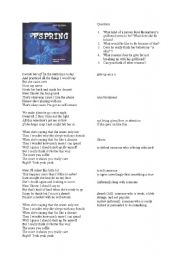 English Worksheet: The Offspring - Self Esteem - Lyrics analysis