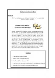 English Worksheets: Reading Comprehension Exam on Animals (7 different activities)