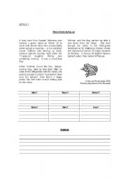 English Worksheet: Summarizing Articles (topic: animals)