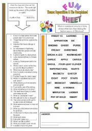 English Worksheet: Fun Sheet Theme: Superstition & The Unexplained