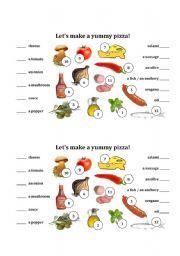 English Worksheet: Making a yummy pizza
