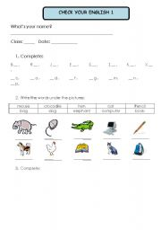 English worksheet: Test 1