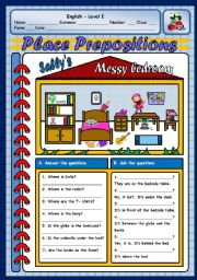 English Worksheet: PLACE PREPOSITIONS -