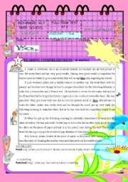 English Worksheet: FULL TERM TEST N° 1 FOR 9TH BASIC EDUCATION