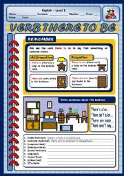 English Worksheets: VERB THERE TO BE - AFFIRMATIVE AND NEGATIVE